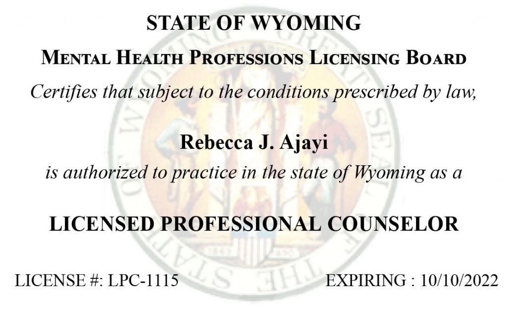 State of Wyoming License